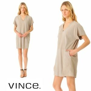VINCE Dress Suede 100% Leather Tunic With Pockets